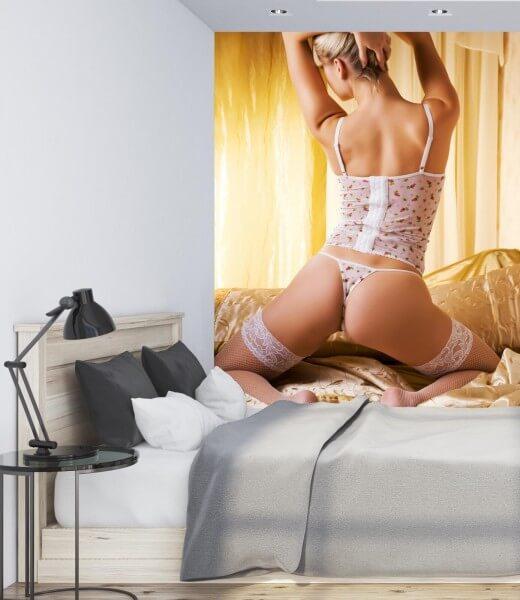 Vlies Tapete XXL Poster Fototapete Erotik Blondine Dessous