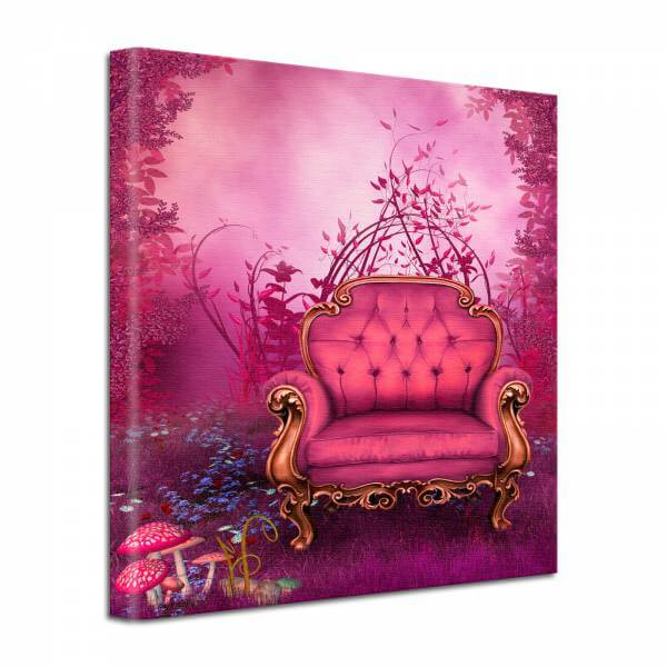 Leinwand Bild edel Fantasy Märchensessel in pink