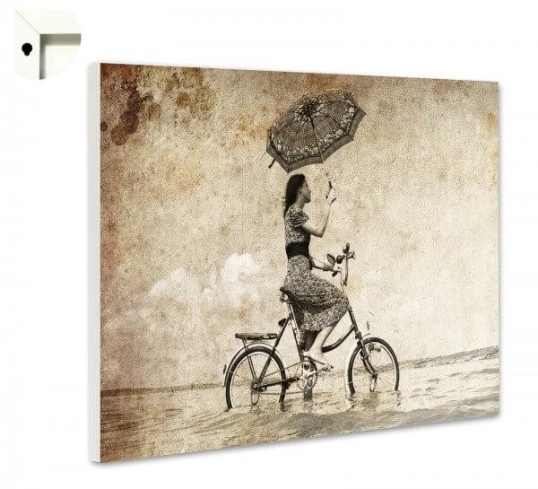 Magnettafel Pinnwand Retro Vintage Damen Fahrrad Schirm