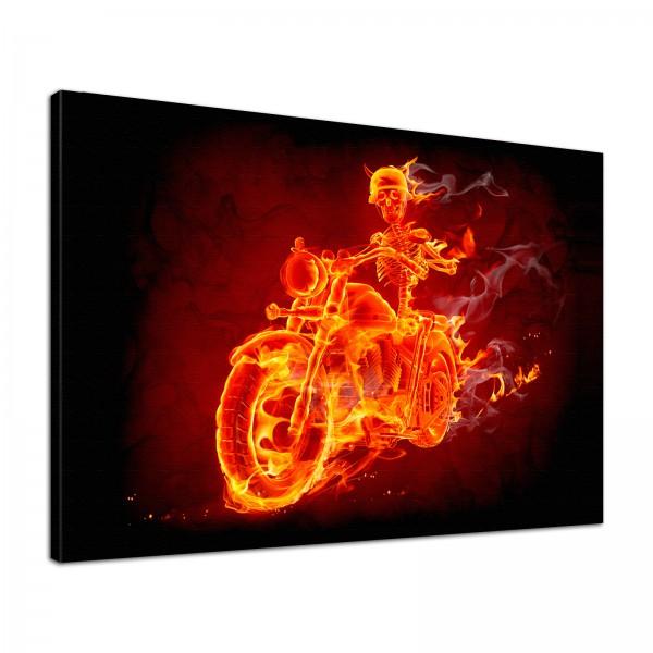 Leinwandbild Burn Skelett in Flammen auf dem Motorrad