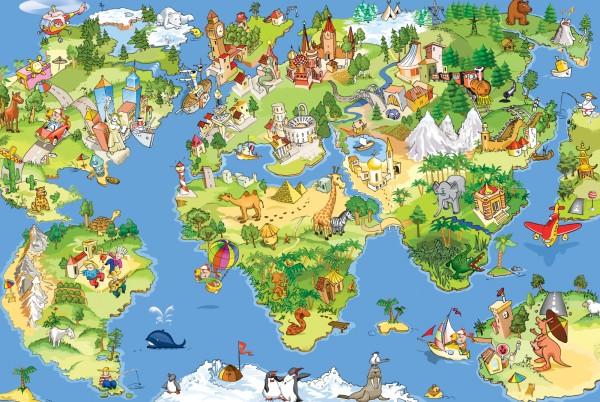 Magnettafel Pinnwand Magnetbild Weltkarte Landkarte Kinder