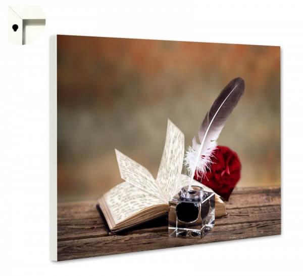 Magnettafel Pinnwand Nostalgie Retro Feder & Tinte auf Holz