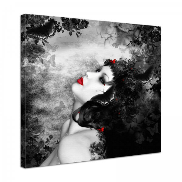 Leinwand Bild edel Gothic black & red Lady