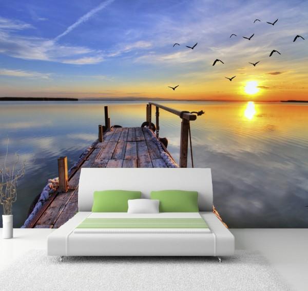 Vlies Tapete Poster XXL Fototapete Steg Abendsonne See