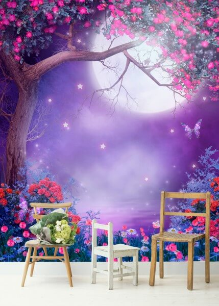 Poster Fototapete Fantasy Mondlandschaft in violett