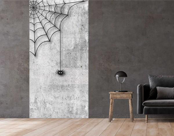 Vlies Tapete Betonoptik Poster Fototapete Spinne Spinnennetz