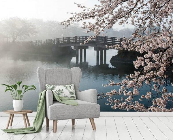 Vlies Tapete Poster Fototapete Brücke Nebel Kirschblüten