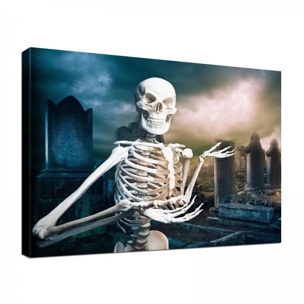 Leinwandbild Gothic Hugo Totenkopf Skelett