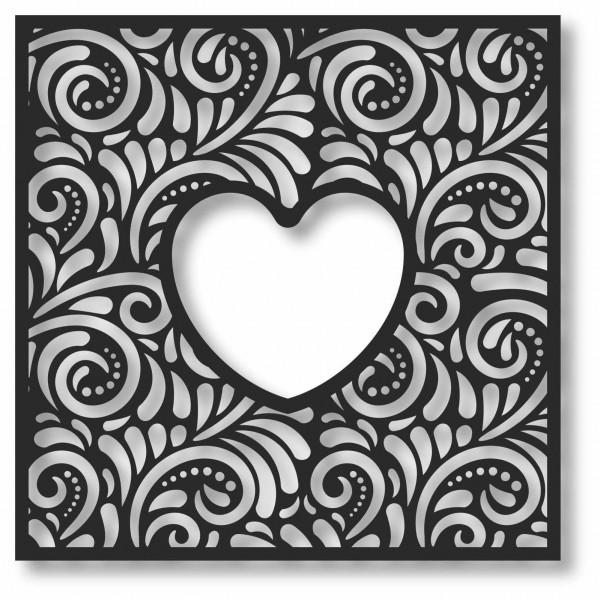 Bild Wandbild 3D Wandtattoo Acryl Mobile Herz Blumenmuster Quadrat