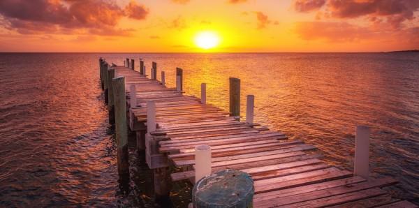 Magnettafel Pinnwand Bild XXL Panorama Steg Meer Abendsonne