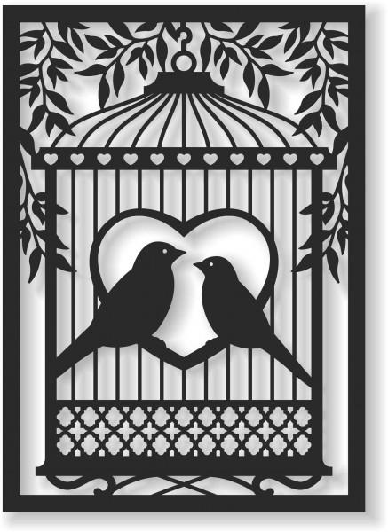 Bild Wandbild Wandtattoo Acryl Mobile Vogel Vögel Herz Romantik