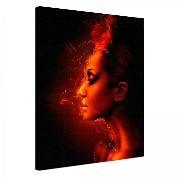 Leinwandbild Burn Flammen Lady im Feuer
