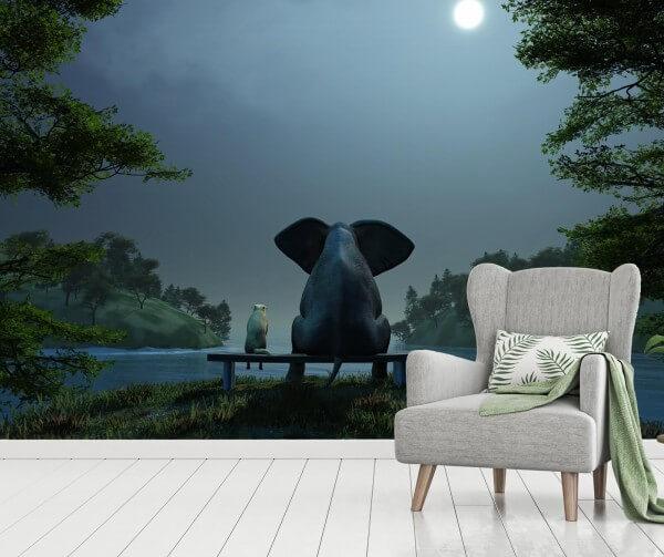 Vlies Tapete Fototapete Elefant Hund Freundschaft bei Nacht