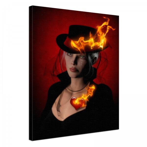 Leinwand Bild edel Fantasy Gothic Frau & Herz in Flammen