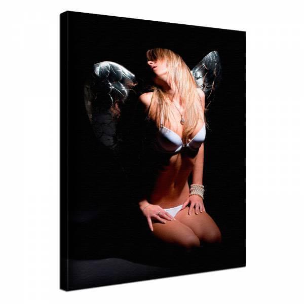 Leinwand Bild edel Erotik Engel in Dessous