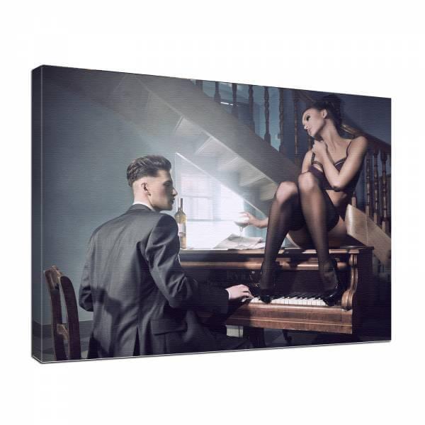 Leinwand Bild edel Erotik Piano Bar 2