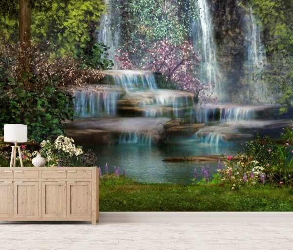 Vlies Tapete Poster Fototapete Fantasy Wasserfall Blumen Natur