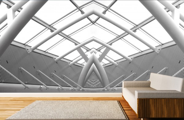 Vlies Tapete Poster XXL Fototapete 3D Effekt Abstrakt Glasdach weiss