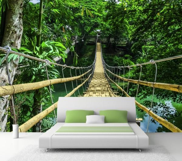 Vliestapete Poster Fototapete Hängebrücke Bambus Philippinen