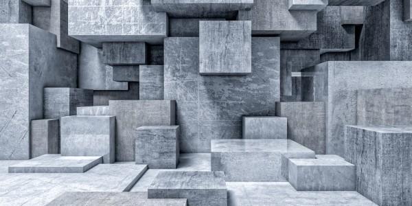Magnettafel Pinnwand XXL Panorama 3D Quader Beton grau
