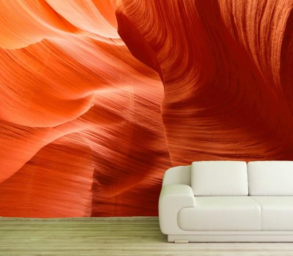 Vlies Tapete Poster Fototapete 3D Canyon Felsen Orange Schlucht