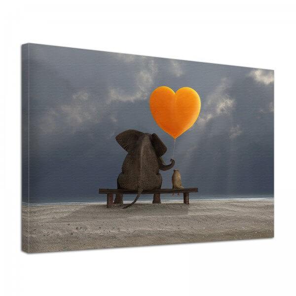 Leinwand Bild edel Tiere Elefant & Hund mit Herz Love
