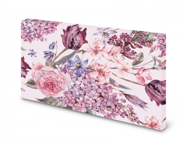 Magnettafel Pinnwand Bild Blumenmuster Blumen rosa lila Floral gekantet