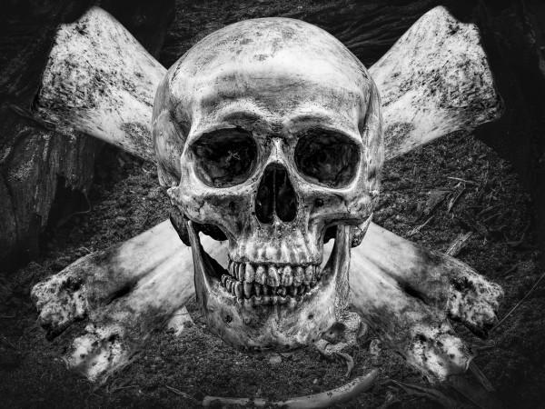 Vlies Tapete XXL Poster Fototapete Totenkopf Knochen Kreuz