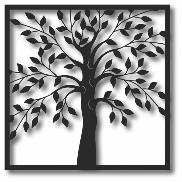 Bild Wandbild 3D Wandtattoo Acryl Mobile Quadrat Baum Blätter