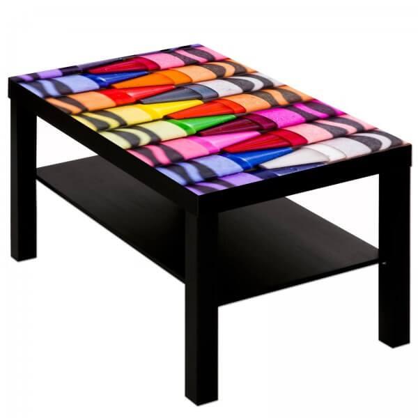Couchtisch Tisch mit Motiv Bild Kinder Wachsmaler Maltisch 2