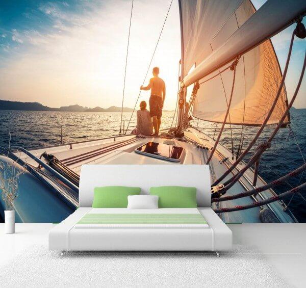Vlies Tapete XXL Poster Fototapete Meer Segelboot Segeln