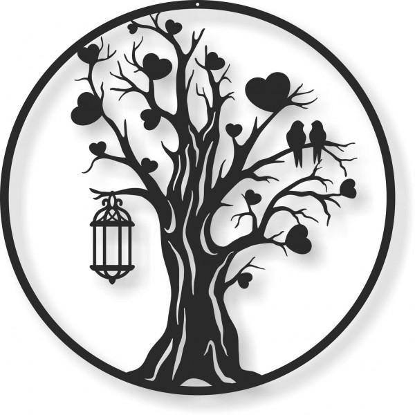 Bild Wandbild Wandtattoo Acryl Mobile Baum Laterne Herz rund Kreis
