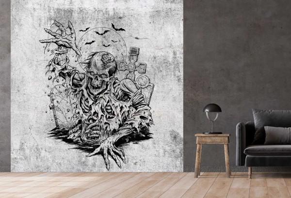 Vlies Tapete Betonoptik Poster Fototapete Tribal Skelett Totenkopf Horror
