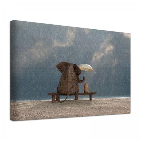 Leinwand Bild edel Tiere Elefant & Hund Freundschaft im Regen