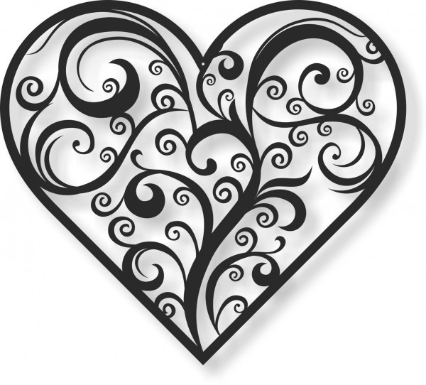 Bild Wandbild Wandtattoo Acryl Mobile Herz Ornament Floral