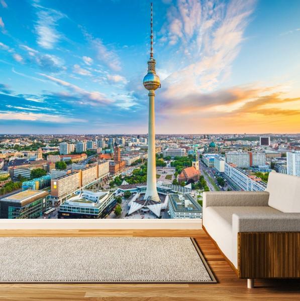 Vlies Tapete XXL Poster Fototapete Berlin Skyline Fernsehturm
