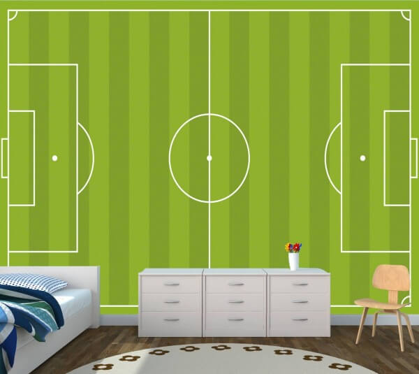 Kinderzimmer Tapete Vlies Poster Fototapete Fussball Feld Platz