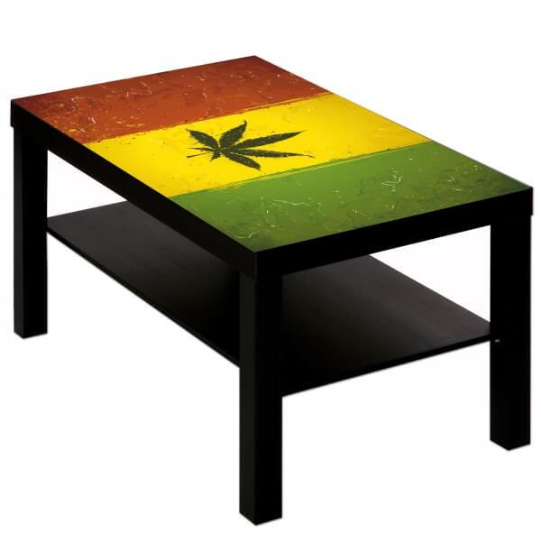 Couchtisch mit Motiv Reggae Hanf