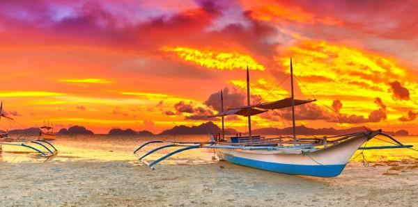 Magnettafel Pinnwand Bild XXL Panorama Philippinen Boot