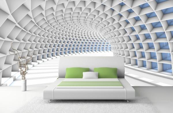 Vlies Tapete 3D Tunnel abstrakt Fototapete Röhre
