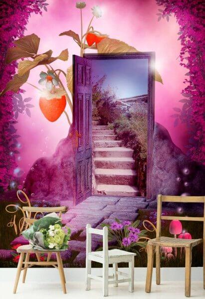 Vlies Tapete Poster Fototapete Fantasy Märchen Treppe Tür rosa
