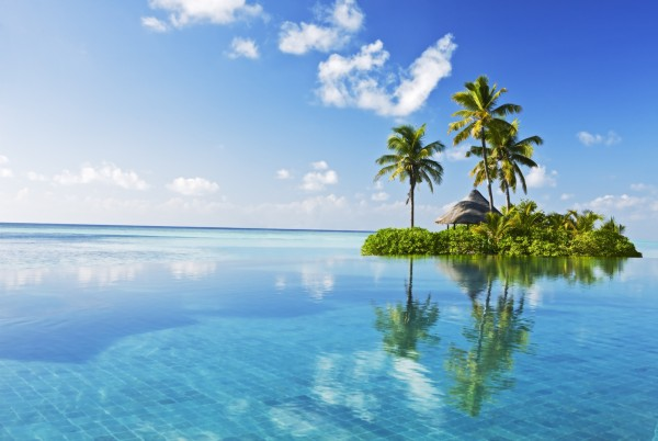 Magnettafel Pinnwand XXL Bild einsame Insel Meer Palmen