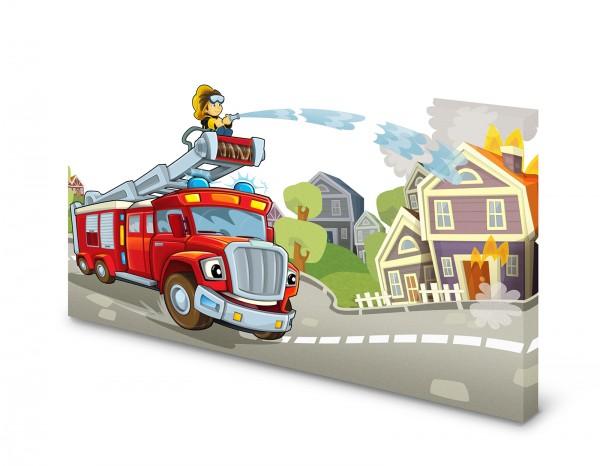 Magnettafel Pinnwand Bild Feuerwehr Feuerwehrauto Kinder gekantet