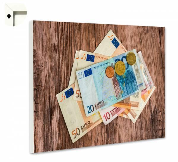 Magnettafel Pinnwand Geldscheine auf Holz