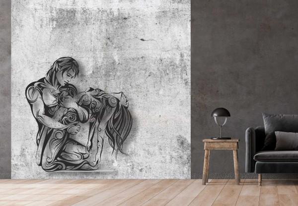 Vlies Tapete Betonoptik Poster Fototapete Tribal Erotik Love Paar
