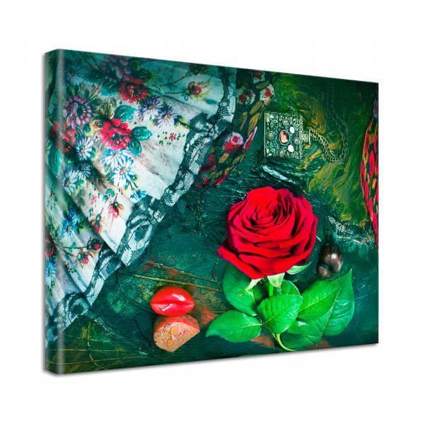 Leinwand Bild Natur & Blumen Rose Fächer Flamenco