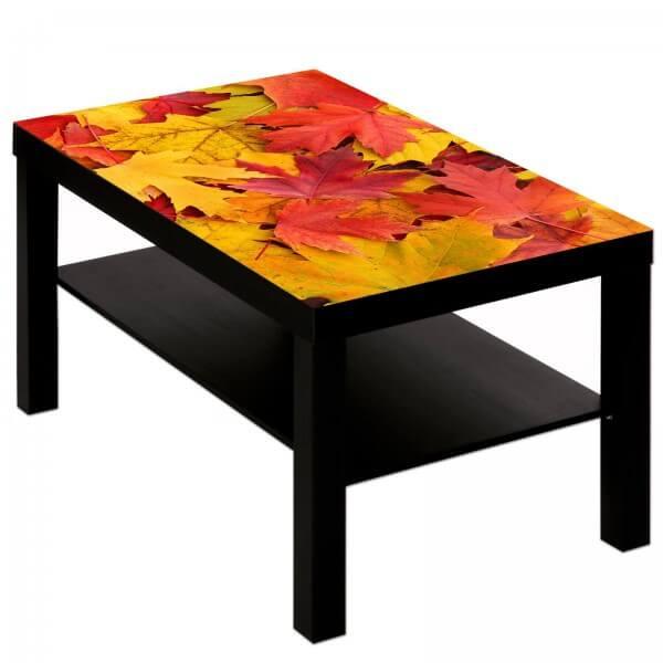 Couchtisch Tisch mit Motiv Bild Blätter Laub Herbst 2