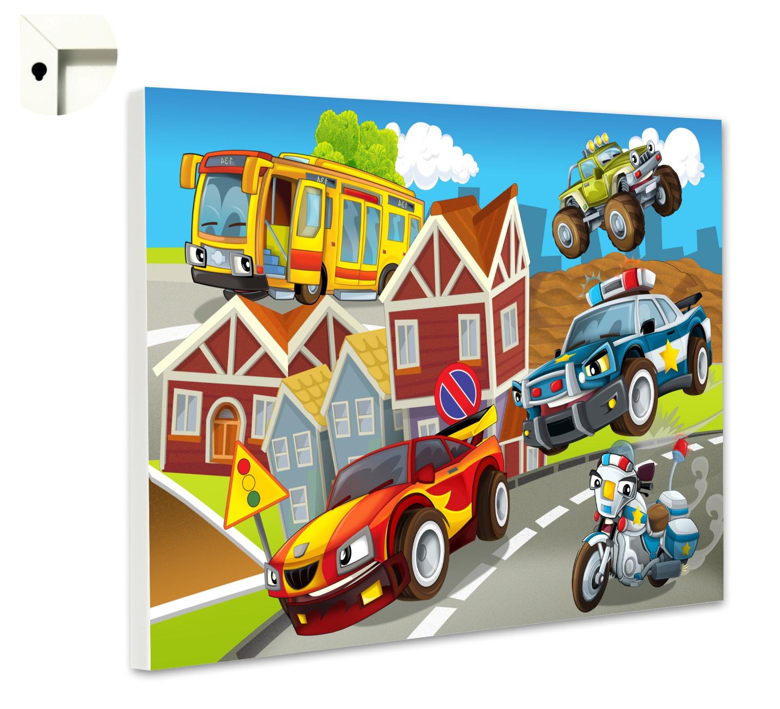 magnettafel motiv kinder rennwagen, polizei & motorrad | kinder