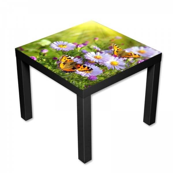 Beistelltisch Couchtisch mit Motiv Natur Blumen mit Schmetterlingen