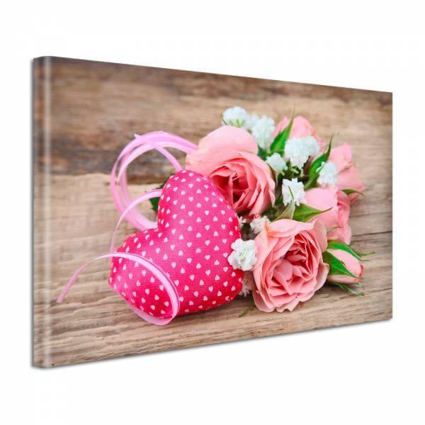 Leinwand Bild edel Blumen Rose & Herz auf Holz